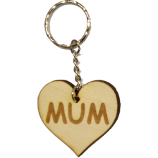 Heart Shaped MUM Wood / Wooden Keyring