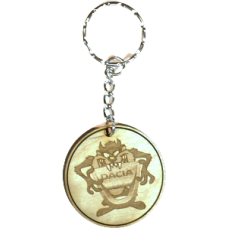 Taz Wood Keyring with Logo - Dacia