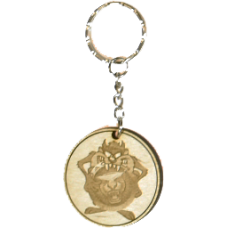 Taz Wood Keyring with Logo - Jaguar Type 1